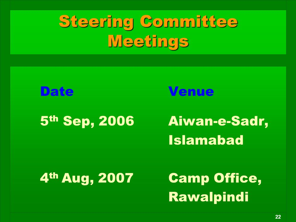 22 Date Venue 5 th Sep, 2006 Aiwan-e-Sadr, Islamabad 4 th Aug, 2007 Camp Office, Rawalpindi Steering Committee Meetings