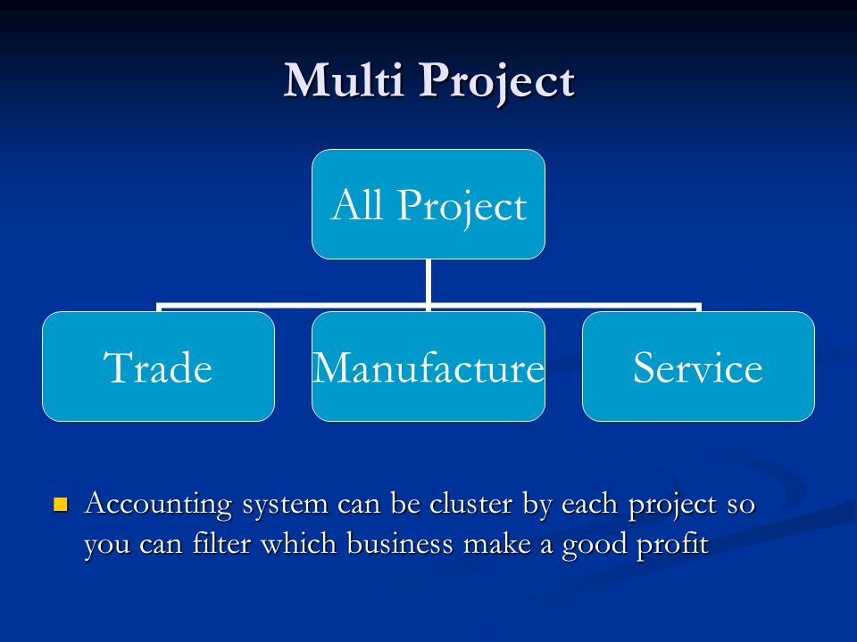 Multi Project All Project TradeManufactureService Accounting system can be cluster by each project so you can filter which business make a good profit