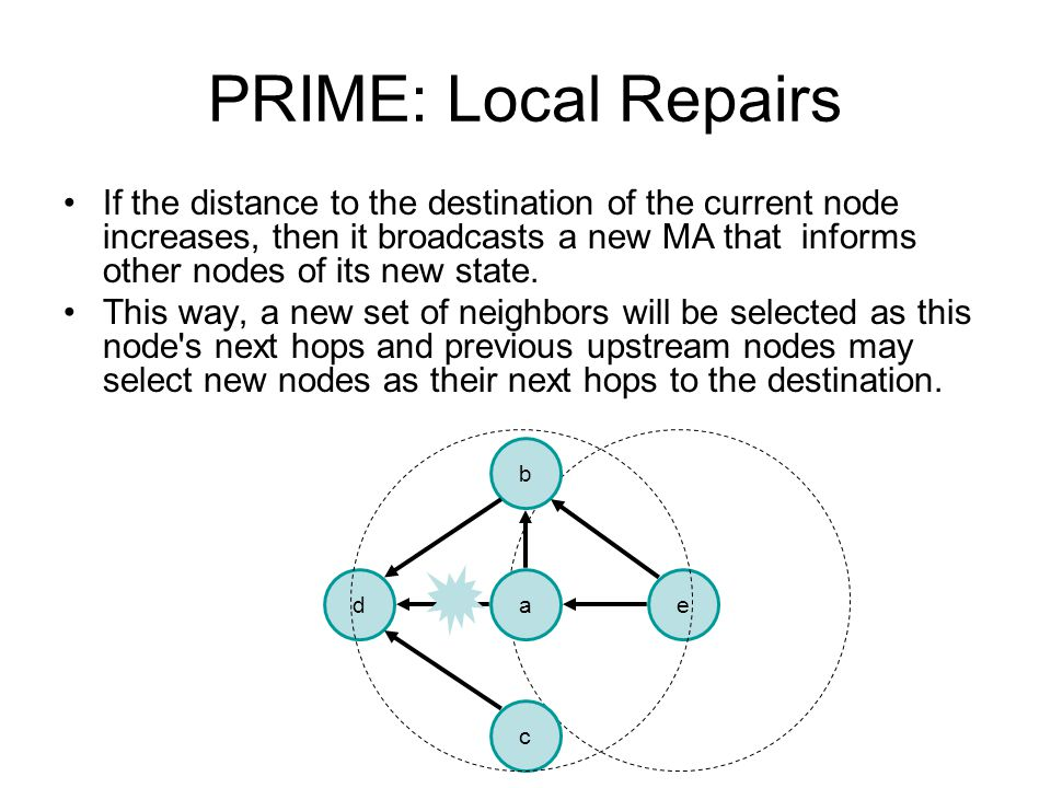 PRIME: Local Repairs If the distance to the destination of the current node increases, then it broadcasts a new MA that informs other nodes of its new state.
