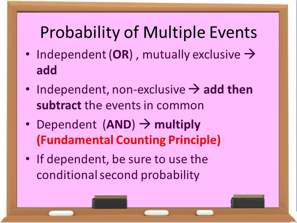 Probability of Multiple Events Independent (OR), mutually exclusive  add Independent, non-exclusive  add then subtract the events in common Dependen