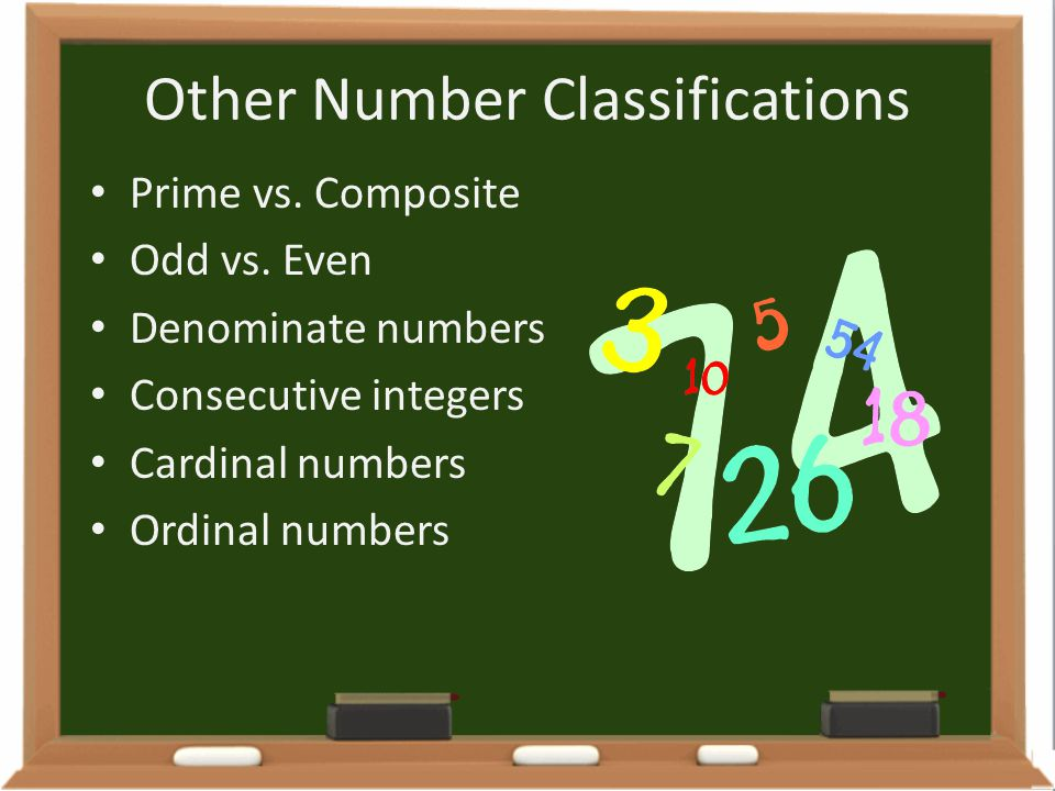 Other Number Classifications Prime vs. Composite Odd vs. Even Denominate numbers Consecutive integers Cardinal numbers Ordinal numbers