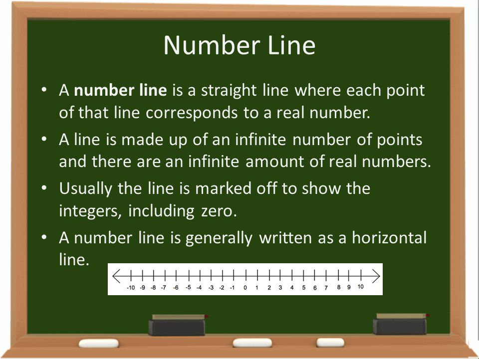 Number Line A number line is a straight line where each point of that line corresponds to a real number. A line is made up of an infinite number of po