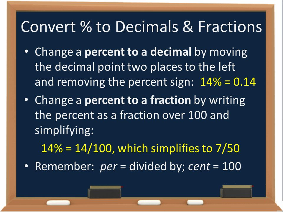 Convert % to Decimals & Fractions Change a percent to a decimal by moving the decimal point two places to the left and removing the percent sign: 14%