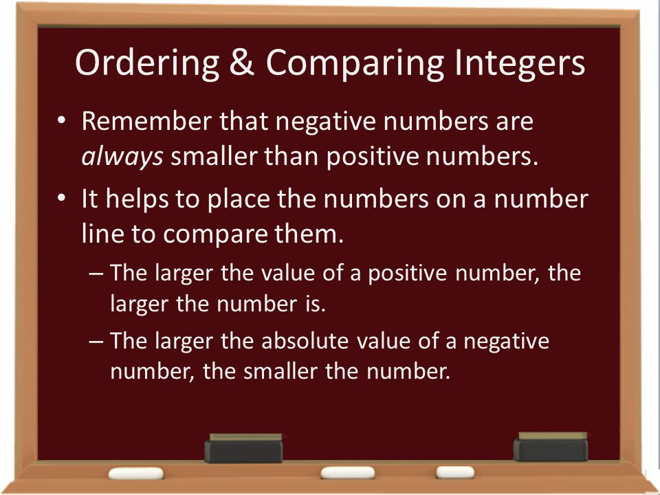 Ordering & Comparing Integers Remember that negative numbers are always smaller than positive numbers. It helps to place the numbers on a number line