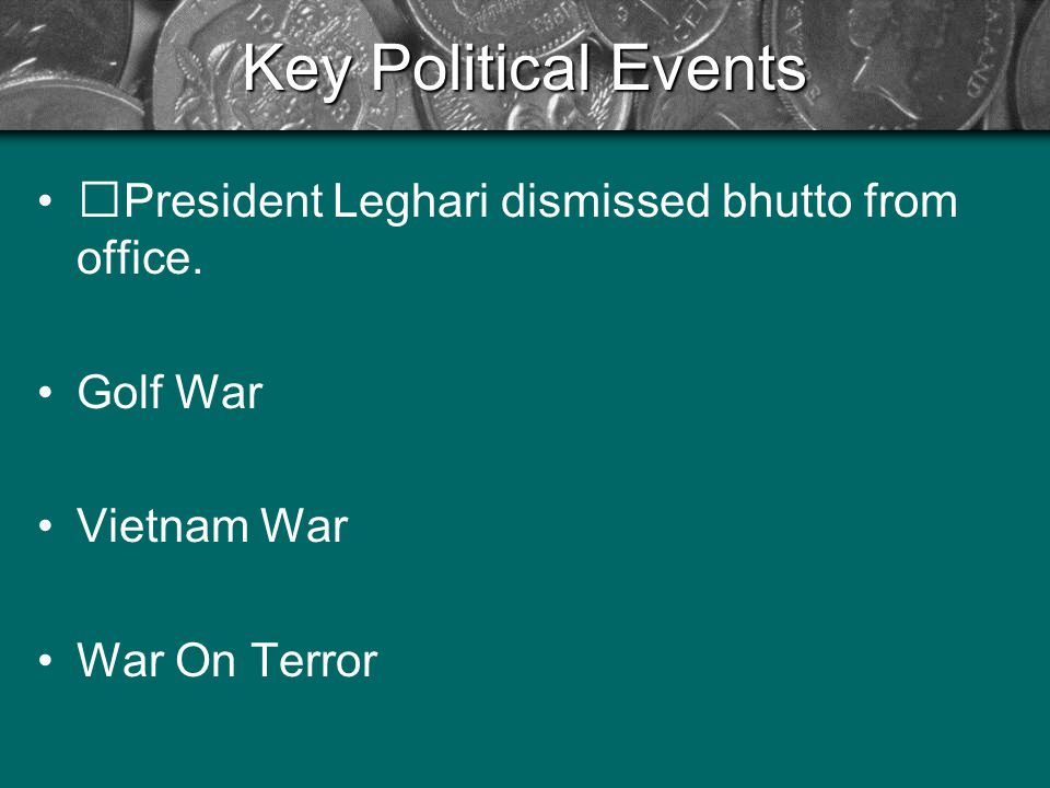 Key Political Events President Leghari dismissed bhutto from office.