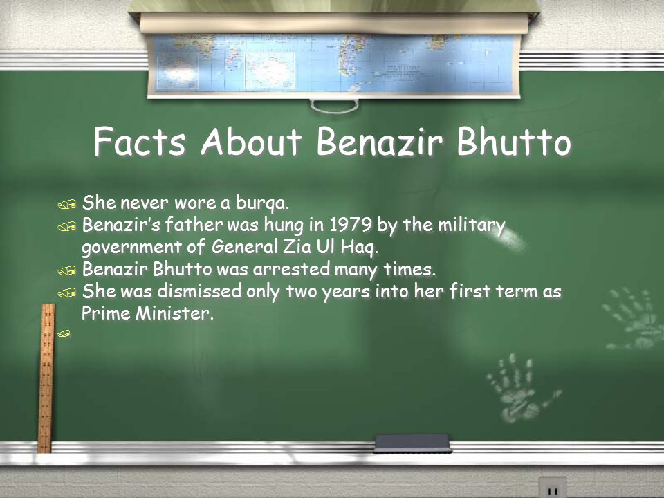 Growing up in Karachi, Pakistan Schooling: Benazir Bhutto was taught hard work by her parents in her early when she had to take care of her siblings when her parents were away.Her had work helped her pull through to be a great prime minister a visionary in the future.
