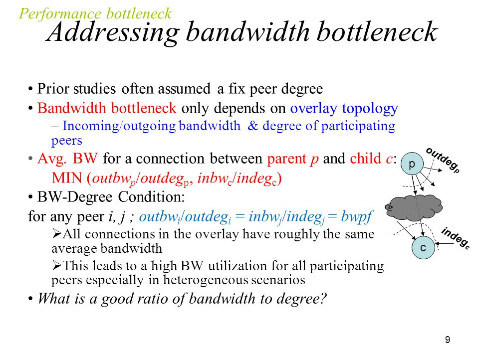 10 Content bottleneck depends on both overlay topology & content delivery data unit = bwpf  Each parent peer should have at least one useful data unit per interval  for each one of its child peer to avoid content bottleneck The availability of new data units at each parent peer is determined by global pattern of content delivery Global pattern depends on the collective behavior of packet scheduling mechanisms at individual peers  What global pattern of delivery minimizes content bottleneck among peers.