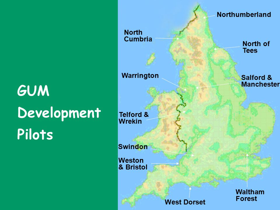Warrington West Dorset North Cumbria Waltham Forest Weston & Bristol Northumberland North of Tees Swindon Telford & Wrekin Salford & Manchester GUM Development Pilots