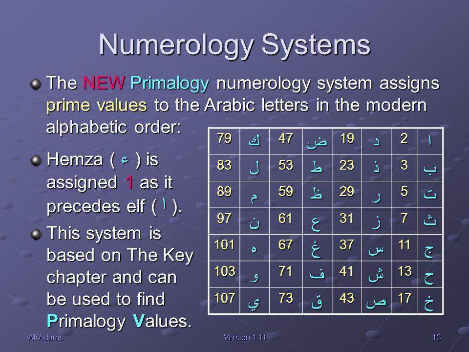 13Ali AdamsVersion 1.11 Numerology Systems 79ك47ض19د2ا 83ل53ط23ذ3ب 89م59ظ29ر5ت 97ن61ع31ز7ث 101ه67غ37س11ج 103و71ف41ش13ح 107ي73ق43ص17خ The NEW Primalogy