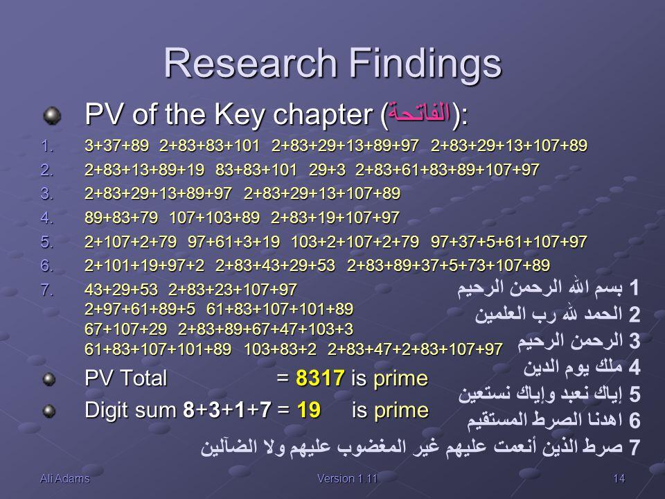 14Ali AdamsVersion 1.11 Research Findings PV of the Key chapter (الفاتحة): 1.3+37+89 2+83+83+101 2+83+29+13+89+97 2+83+29+13+107+89 2.2+83+13+89+19 83