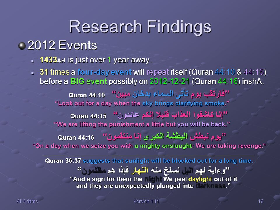 19Ali AdamsVersion 1.11 Research Findings 2012 Events 1433 AH is just over 1 year away. 1433 AH is just over 1 year away. 31 times a four-day event wi