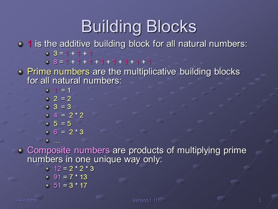 5Ali AdamsVersion 1.11 Building Blocks 1 is the additive building block for all natural numbers: 3 = 1 + 1 + 1 3 = 1 + 1 + 1 8 = 1 + 1 + 1 + 1 + 1 + 1