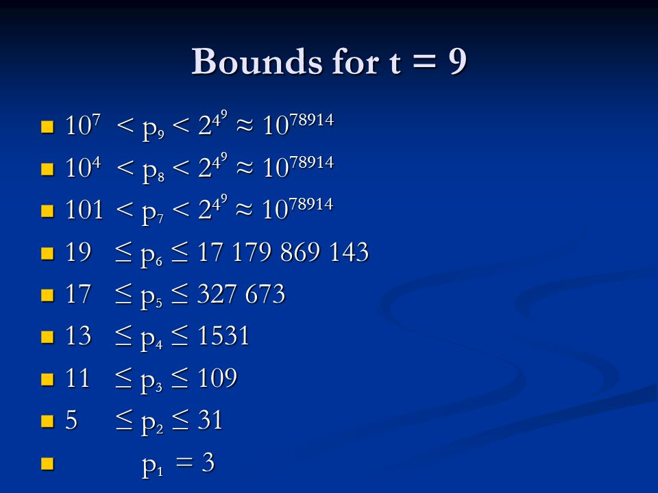 Bounds for t = 9 10 7 < p 9 < 2 4 9 ≈ 10 78914 10 7 < p 9 < 2 4 9 ≈ 10 78914 10 4 < p 8 < 2 4 9 ≈ 10 78914 10 4 < p 8 < 2 4 9 ≈ 10 78914 101 < p 7 < 2 4 9 ≈ 10 78914 101 < p 7 < 2 4 9 ≈ 10 78914 19 ≤ p 6 ≤ 17 179 869 143 19 ≤ p 6 ≤ 17 179 869 143 17 ≤ p 5 ≤ 327 673 17 ≤ p 5 ≤ 327 673 13 ≤ p 4 ≤ 1531 13 ≤ p 4 ≤ 1531 11 ≤ p 3 ≤ 109 11 ≤ p 3 ≤ 109 5 ≤ p 2 ≤ 31 5 ≤ p 2 ≤ 31 p 1 = 3 p 1 = 3