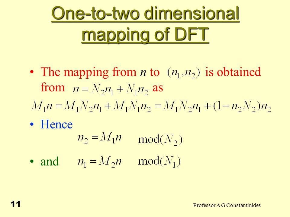 Professor A G Constantinides 11 One-to-two dimensional mapping of DFT The mapping from n to is obtained from as Hence and