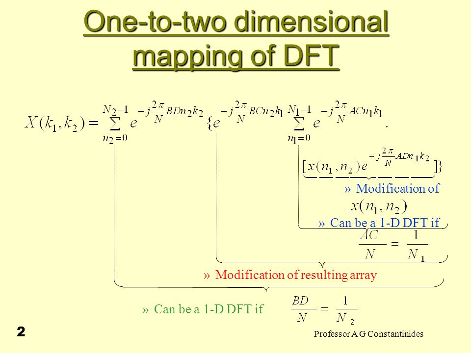 Professor A G Constantinides 13 One-to-two dimensional mapping of DFT For each residue of, will be different, else and for and we have And hence divides r which is untrue as ordivideswhich is also untrue as
