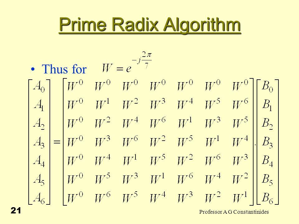 Professor A G Constantinides 21 Prime Radix Algorithm Thus for
