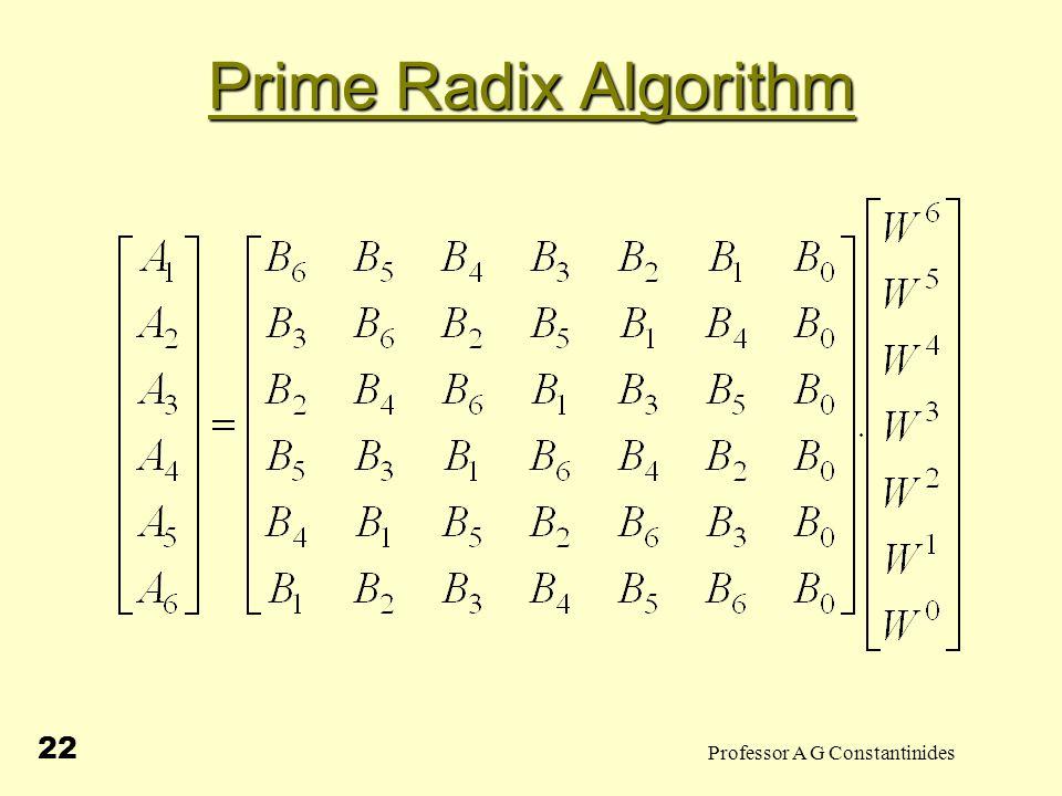 Professor A G Constantinides 22 Prime Radix Algorithm