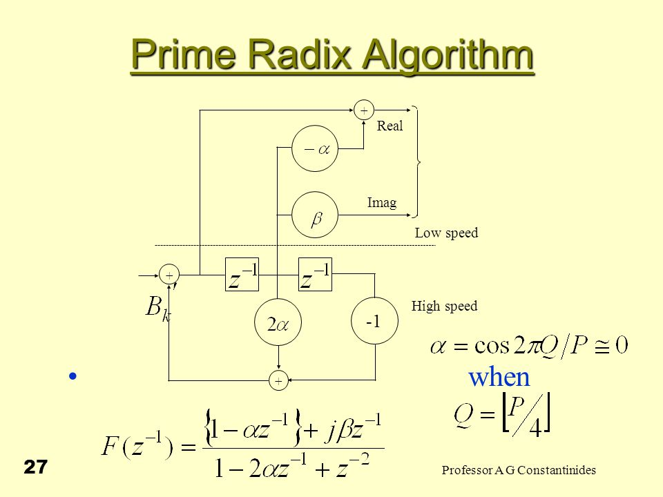 Professor A G Constantinides 27 Prime Radix Algorithm when + + + High speed Imag Real Low speed