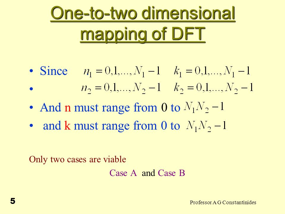 Professor A G Constantinides 5 One-to-two dimensional mapping of DFT Since.