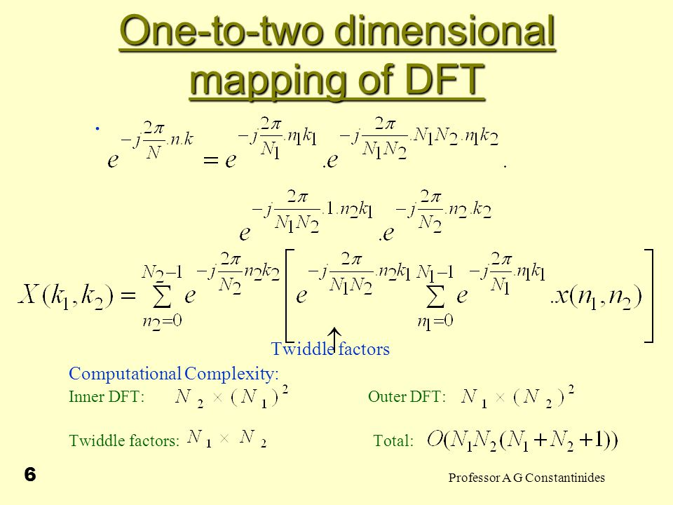 Professor A G Constantinides 6 One-to-two dimensional mapping of DFT.