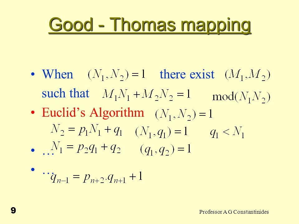 Professor A G Constantinides 10 Euclid's Algorithm (31,11) (1) 31=2x11+9 (2) 11=1x9+2 (3) 9=4x2+1 4x(2) yields 4x11=4x9+4x2=4x9+(9-1)=5x9-1 5x(1) yields 5x31=10x11+5x9=10x11+(4x11+1) Thus 5x31-4x11=1 ie