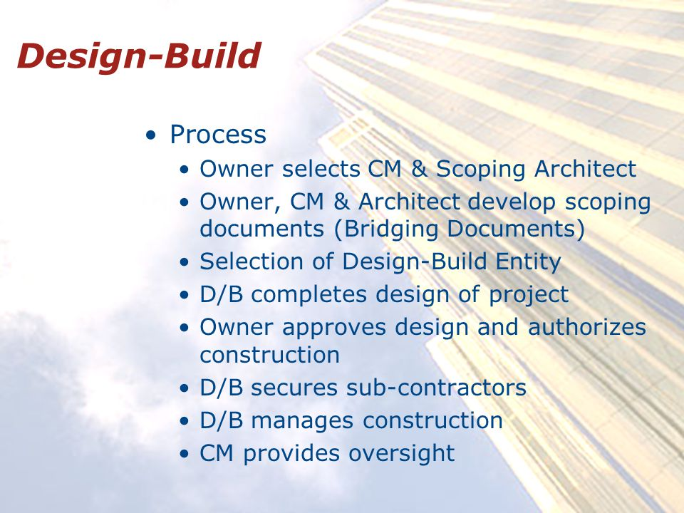 Design-Build Process Owner selects CM & Scoping Architect Owner, CM & Architect develop scoping documents (Bridging Documents) Selection of Design-Build Entity D/B completes design of project Owner approves design and authorizes construction D/B secures sub-contractors D/B manages construction CM provides oversight