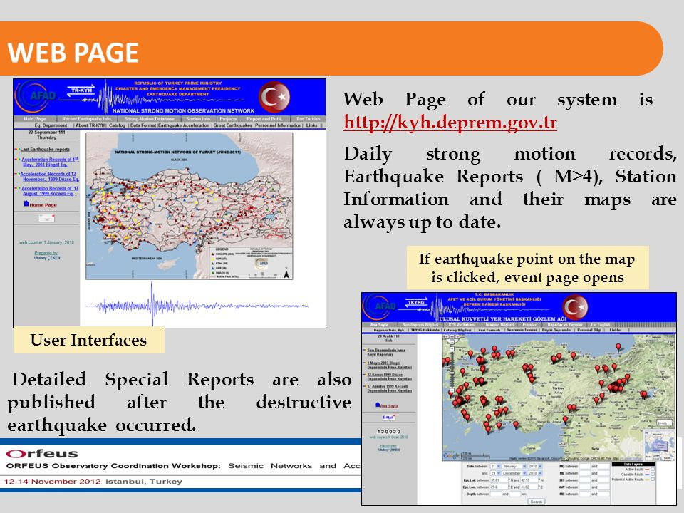 REPUBLIC OF TURKEY PRIME MINISTRY DISASTER AND EMERGENCY MANAGEMENT PRESIDENCY EARTHQUAKE DEPARTMENT WEB PAGE User Interfaces If earthquake point on the map is clicked, event page opens Web Page of our system is http://kyh.deprem.gov.tr Daily strong motion records, Earthquake Reports ( M  4), Station Information and their maps are always up to date.