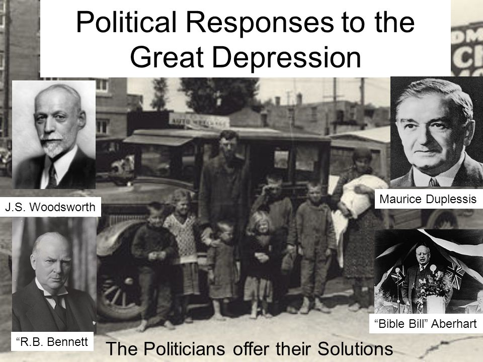 Political Responses to the Great Depression The Politicians offer their Solutions J.S.