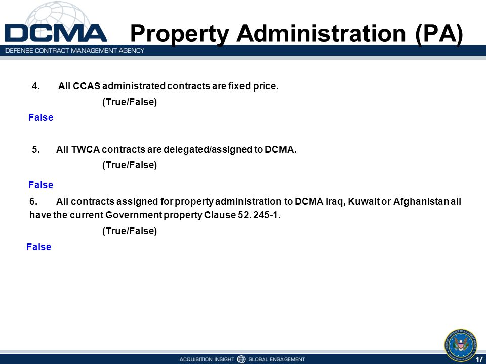 17 5/9/2015 4. All CCAS administrated contracts are fixed price.