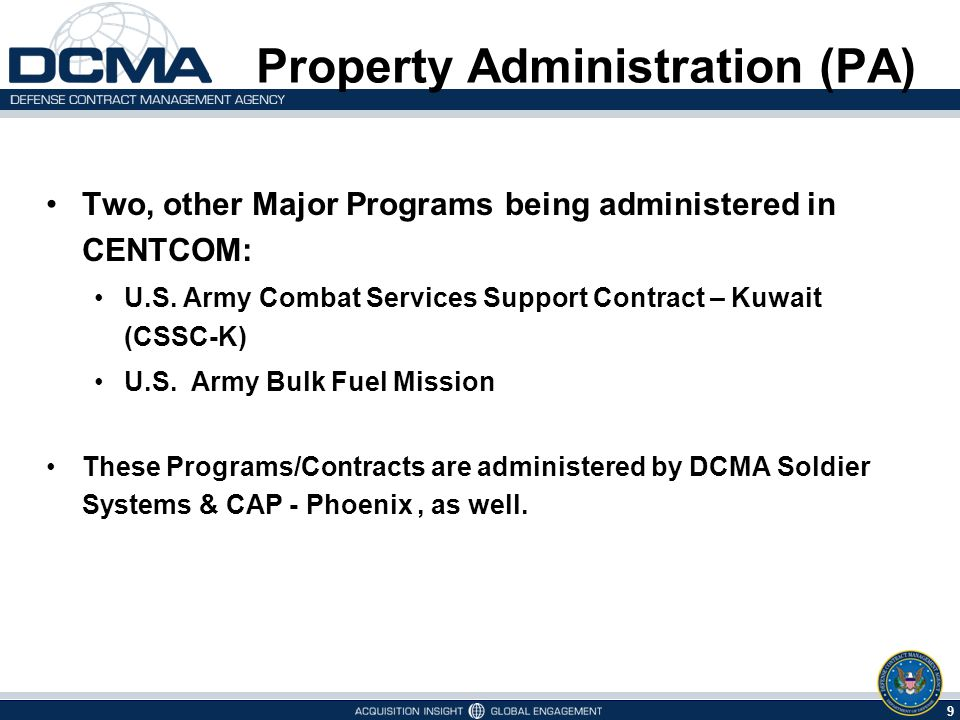 9 5/9/2015 Two, other Major Programs being administered in CENTCOM: U.S.