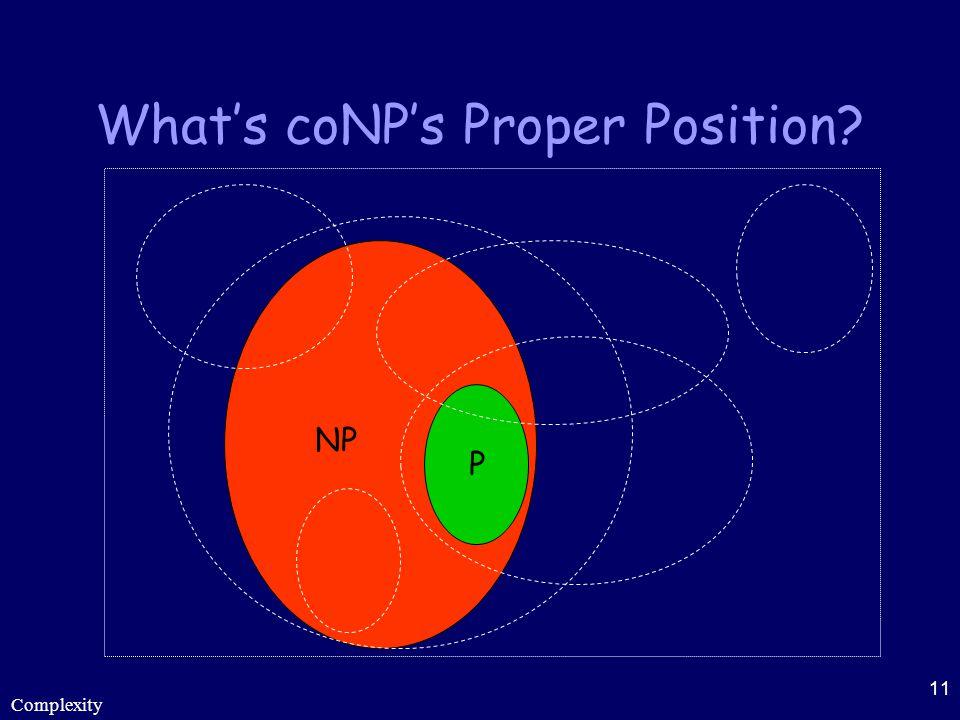 Complexity 11 What's coNP's Proper Position? P NP