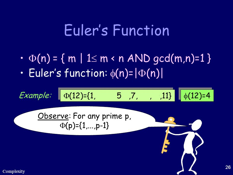 Complexity 26 Euler's Function  (n) = { m | 1  m < n AND gcd(m,n)=1 } Euler's function:  (n)=|  (n)|  (12)={1,2,3,4,5,6,7,8,9,10,11}  (12)=4 Exa