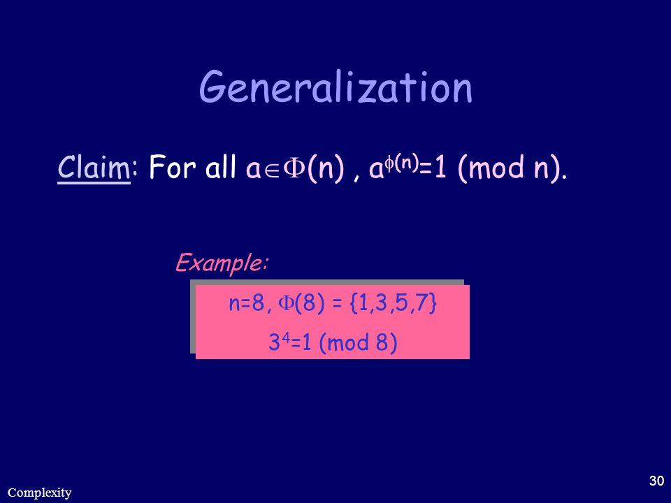 Complexity 30 Generalization Claim: For all a  (n), a  (n) =1 (mod n). n=8,  (8) = {1,3,5,7} 3 4 =1 (mod 8) n=8,  (8) = {1,3,5,7} 3 4 =1 (mod 8)