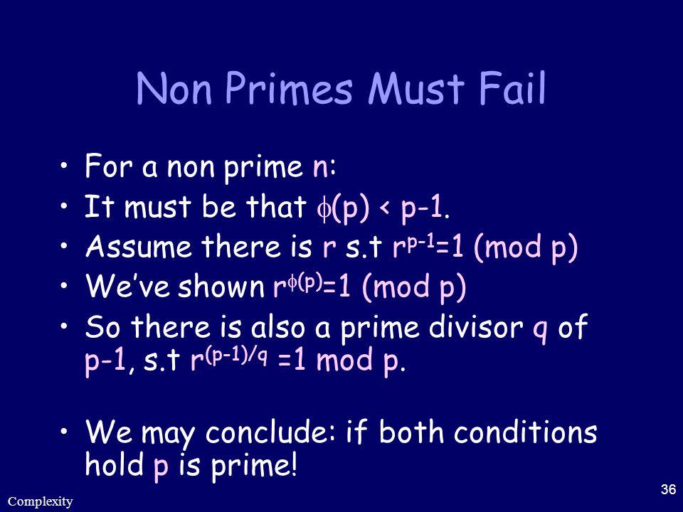 Complexity 36 Non Primes Must Fail For a non prime n: It must be that  (p) < p-1. Assume there is r s.t r p-1 =1 (mod p) We've shown r  (p) =1 (mod