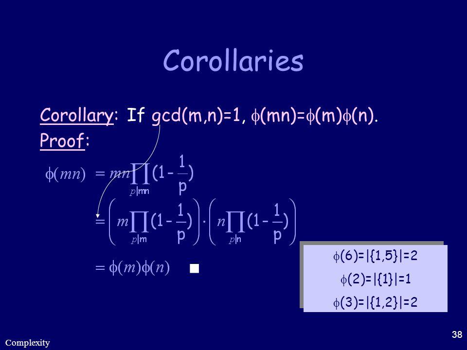 Complexity 38 Corollaries Corollary: If gcd(m,n)=1,  (mn)=  (m)  (n). Proof:  (6)=|{1,5}|=2  (2)=|{1}|=1  (3)=|{1,2}|=2  (6)=|{1,5}|=2  (2)=|{
