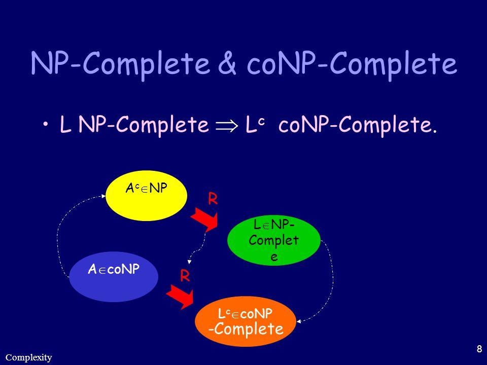 Complexity 8 NP-Complete & coNP-Complete L NP-Complete  L c coNP-Complete. A c  NP L  NP- Complet e A  coNP R R L c  coNP -Complete