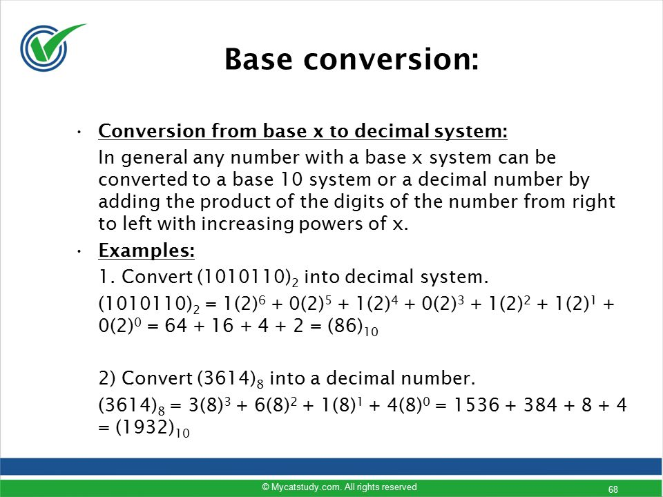 Base conversion: Conversion from base x to decimal system: In general any number with a base x system can be converted to a base 10 system or a decima