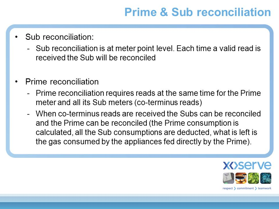 Prime & Sub reconciliation Sub reconciliation: -Sub reconciliation is at meter point level.