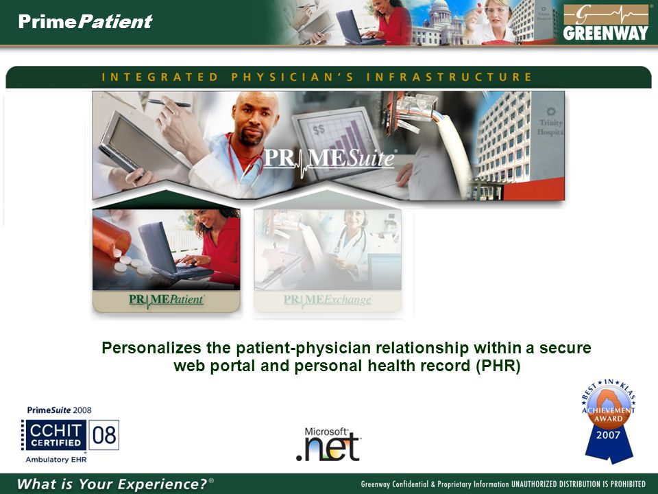 PrimePatient Personalizes the patient-physician relationship within a secure web portal and personal health record (PHR)