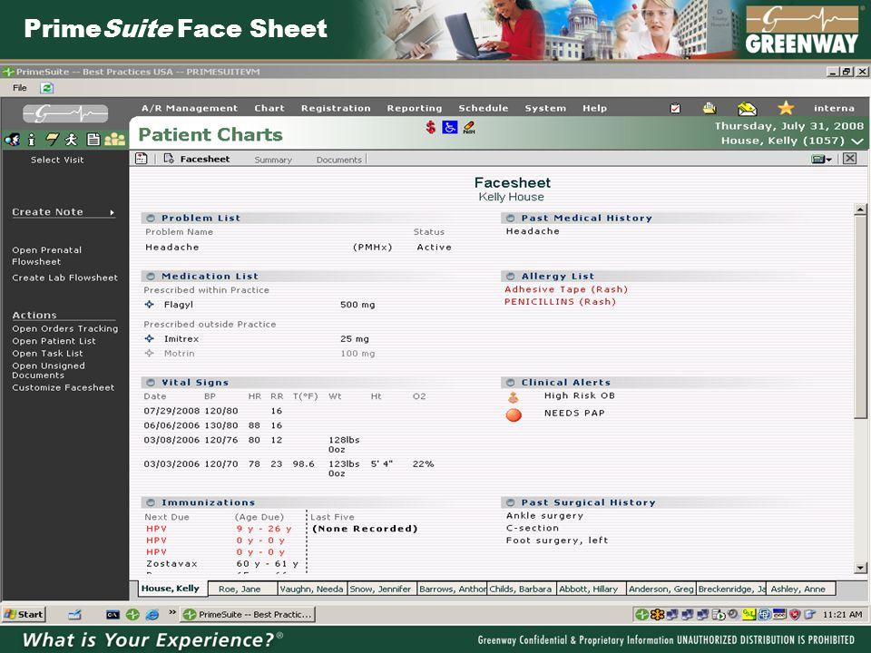 PrimeSuite Face Sheet