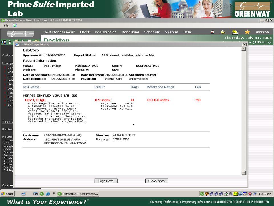 PrimeSuite Imported Lab
