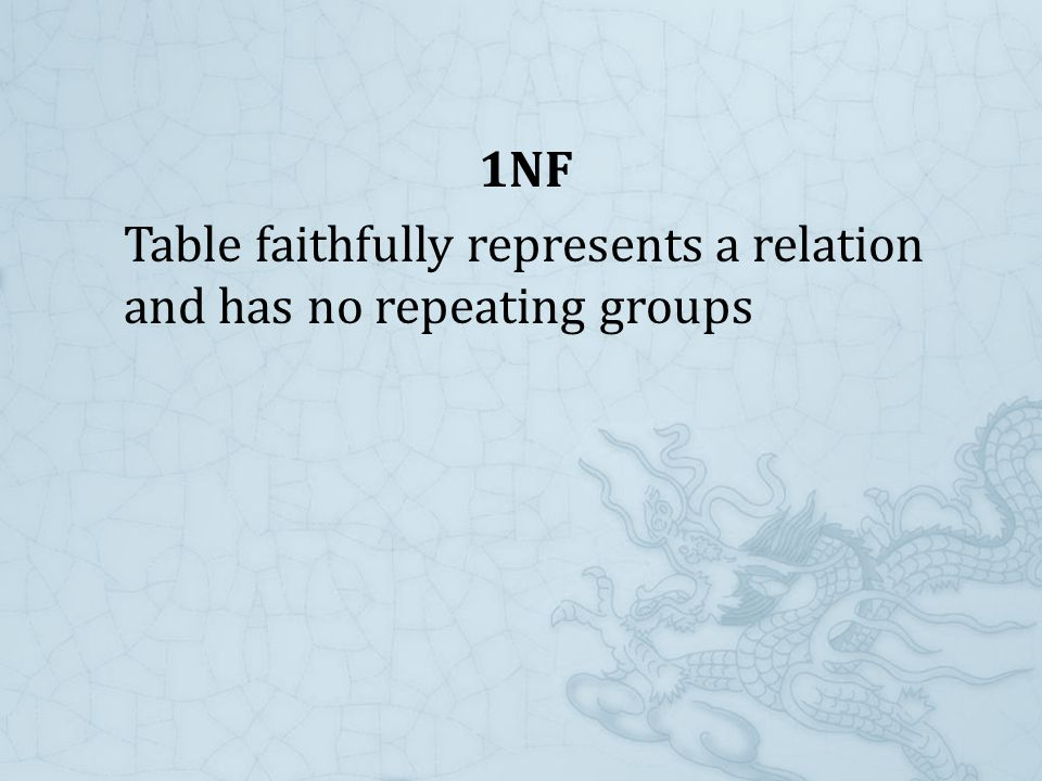 1NF Table faithfully represents a relation and has no repeating groups