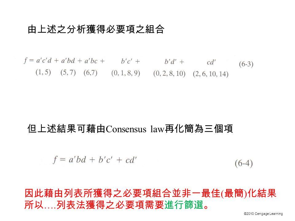 ©2010 Cengage Learning 由上述之分析獲得必要項之組合 但上述結果可藉由 Consensus law 再化簡為三個項 因此藉由列表所獲得之必要項組合並非一最佳 ( 最簡 ) 化結果 所以 ….