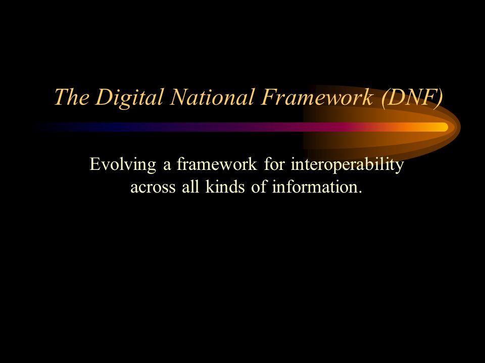 The Digital National Framework (DNF) Evolving a framework for interoperability across all kinds of information.