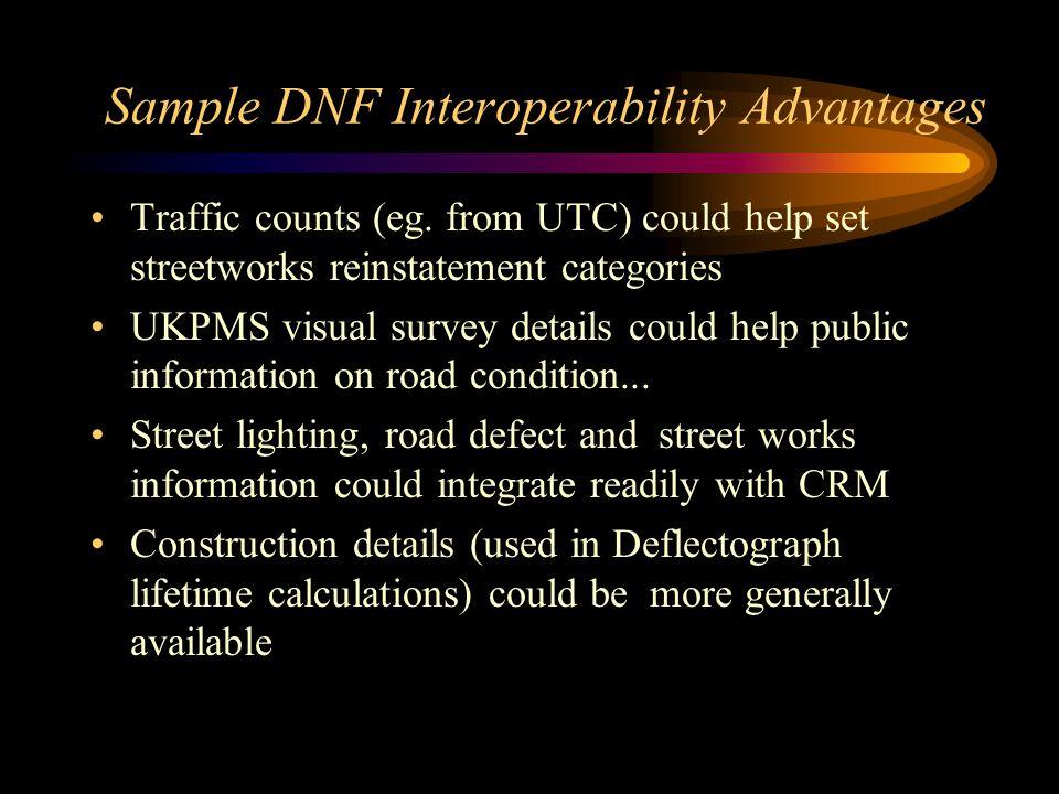 Sample DNF Interoperability Advantages Traffic counts (eg.