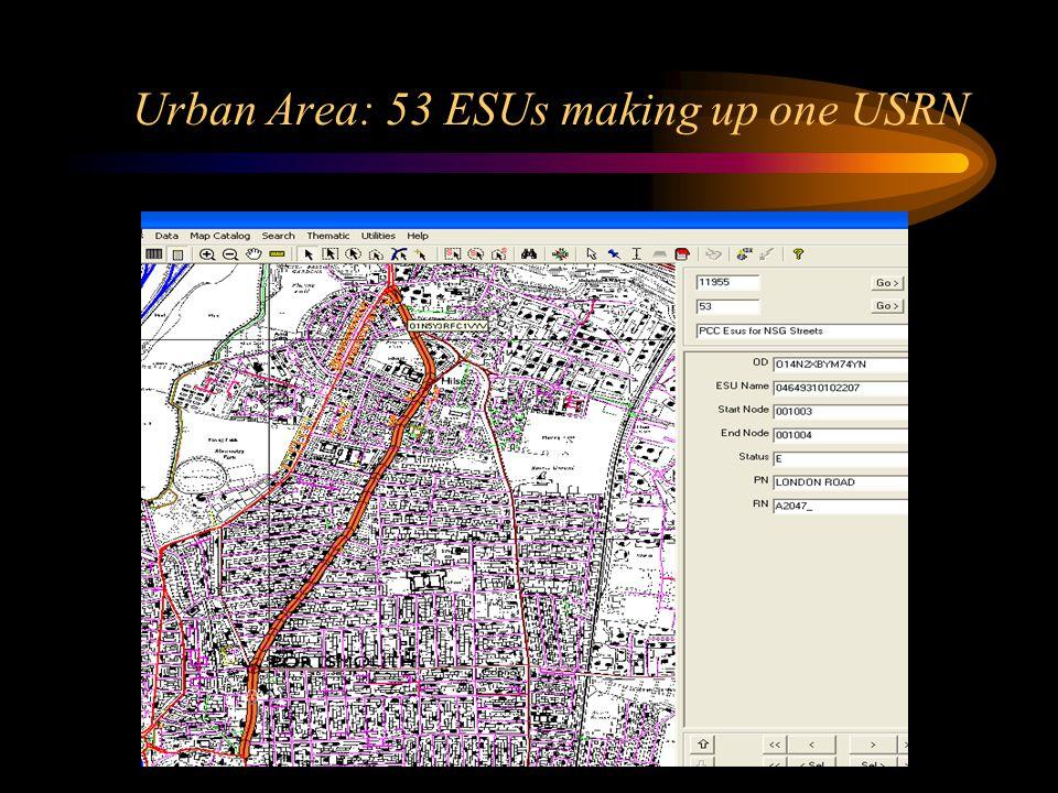 Urban Area: 53 ESUs making up one USRN