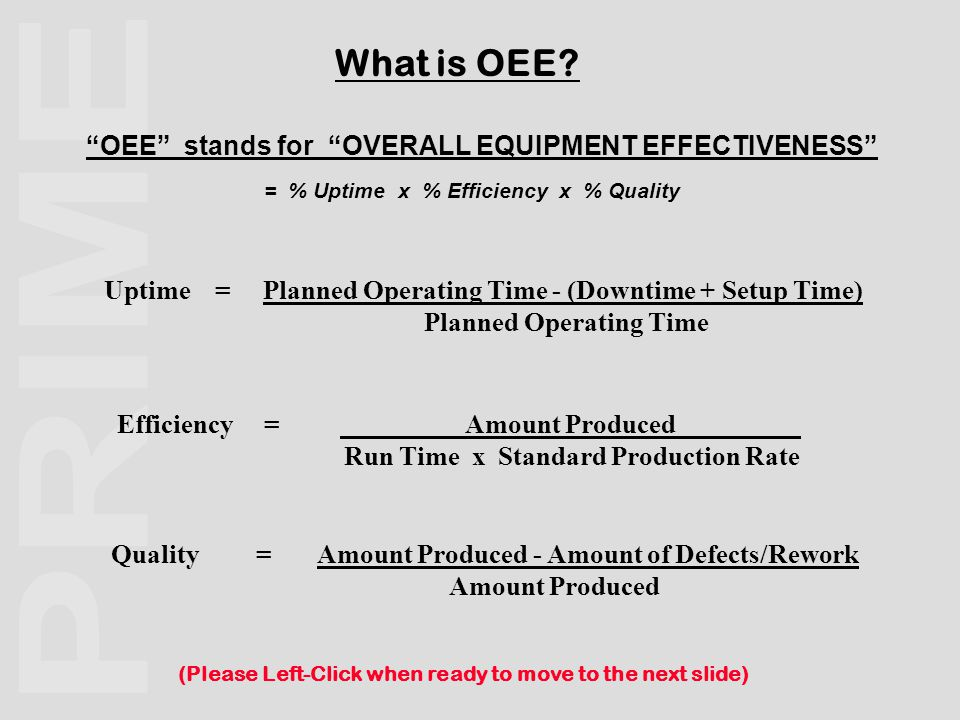 Scheduled Production Capacity Available Production Capacity Achieved Throughput Effective Operation Good Quality Product Less Downtime Losses = Less Runrate Losses = Less Quality Losses = Possible Shift Hours ( Factory Open )Less Unmanned Shifts = Usual Basis For Planned Hours (Please Left-Click when ready to move to the next slide) A Model for OEE