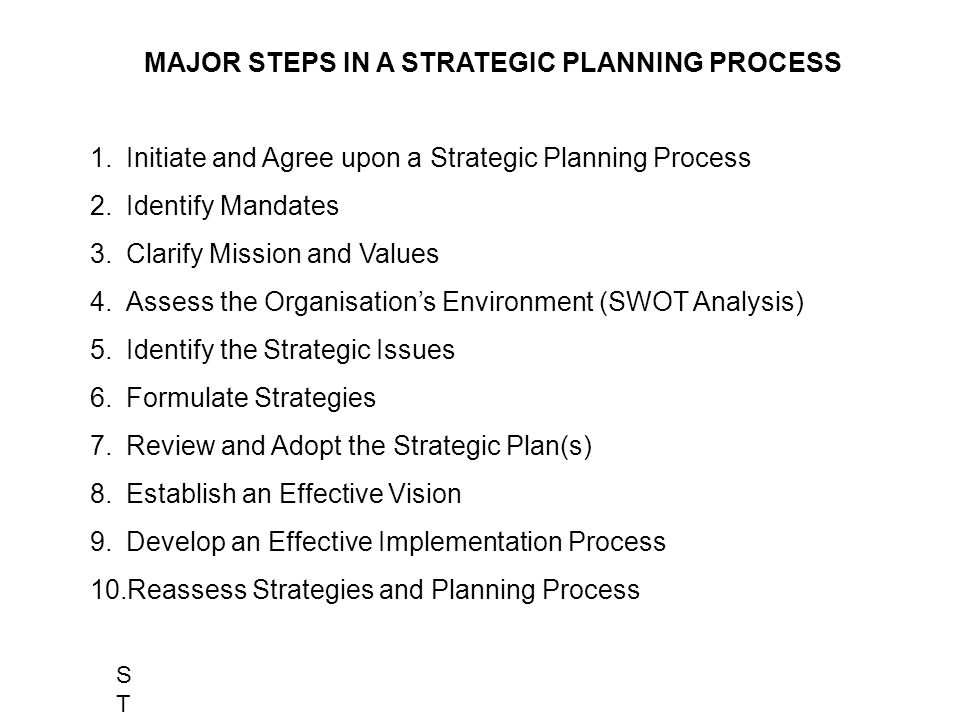 Internal Environment Strategic Issues Review Mission/Values Mandates Analysis Initial Agreement Strategy Formulation Stakeholders Analysis External Environment THE STRATEGY CHANGE CYCLE : A STRATEGIC PLANNING MODEL STRATEGSTRATEG STRATEGIC PLANNING