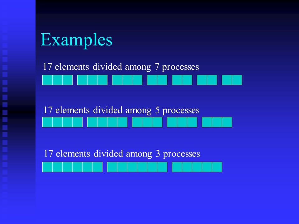 Examples 17 elements divided among 7 processes 17 elements divided among 5 processes 17 elements divided among 3 processes