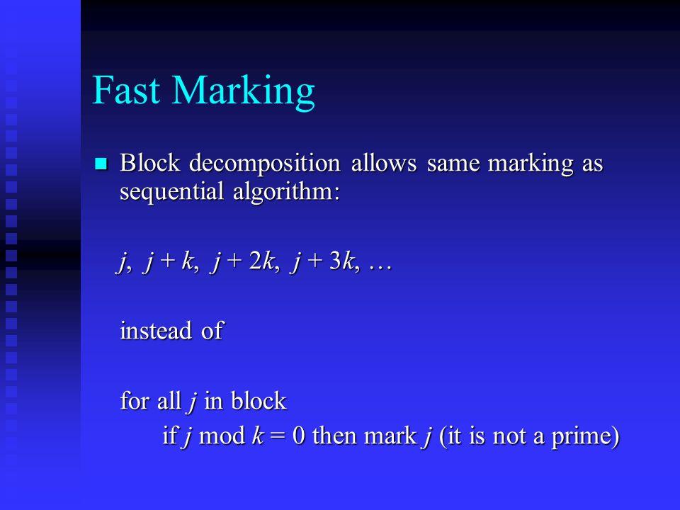 Fast Marking Block decomposition allows same marking as sequential algorithm: Block decomposition allows same marking as sequential algorithm: j, j +
